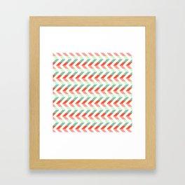 Chevron Raspberry and Peach - Geometric pattern  Framed Art Print