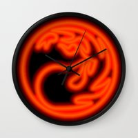 magic the gathering Wall Clocks featuring Magic the Gathering, Neon Red Mana by Thorn Blackstar