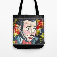 pee wee Tote Bags featuring Pee Wee by Portraits on the Periphery