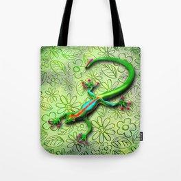 Gecko Lizard Rainbow Colors Tote Bag