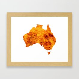 Australia Map With Flames Background Framed Art Print