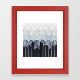 Soft Blue Hexagons Framed Art Print