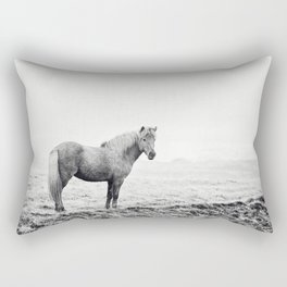 Horse in Icelandic Landscape Photograph Rectangular Pillow