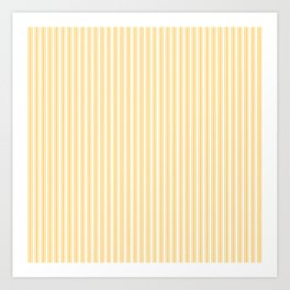 Classic Small Yellow Butter French Mattress Ticking Double Stripes Art Print