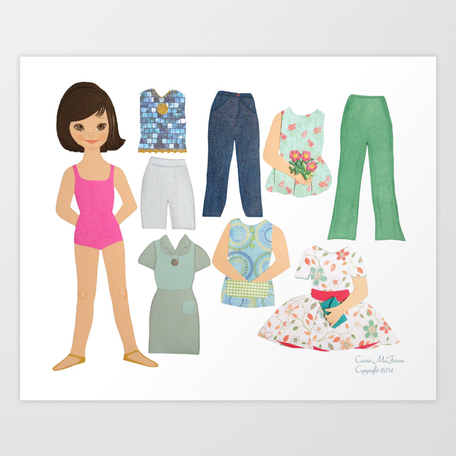 Betsy Mccall Style Paper Doll From The 1960 S Original Paper Cutting Art Print By Carriemcferron Society6