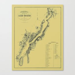 Map of Lake George 1855 Canvas Print