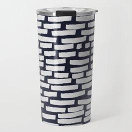 Light Grey Strokes on Dark Blue Travel Mug