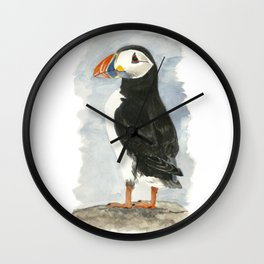 Atlantic Puffin - Watercolor Wall Clock