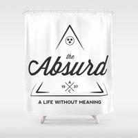 camus Shower Curtains featuring The Absurd by Andrew Gony