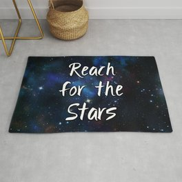 Reach for the Stars Galaxy Nebula Inspirational Quote Rug