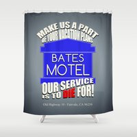 hitchcock Shower Curtains featuring Bates Motel Advertisement  |  Alfred Hitchcock by Silvio Ledbetter