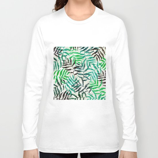 Watercolor Tropical Palm Leaves II Long Sleeve T-shirt