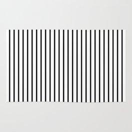 Black Pinstripe On White Pattern Rug