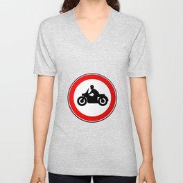 Motorcycle Round Traffic Sign Unisex V-Neck