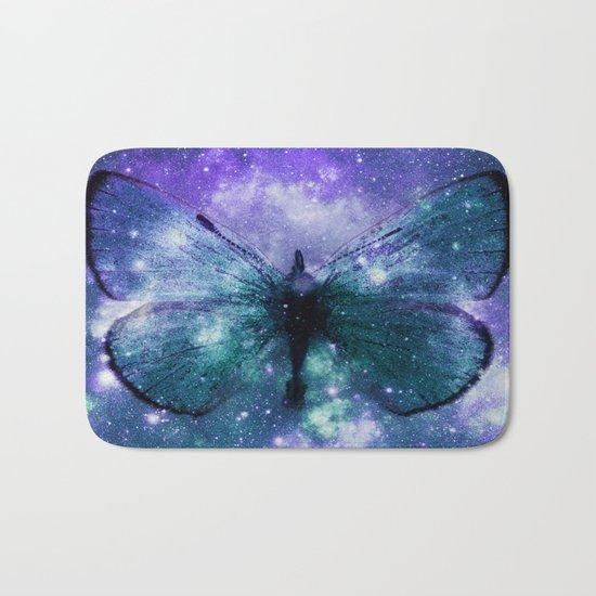 Celestial Butterfly Purple Teal Bath Mat