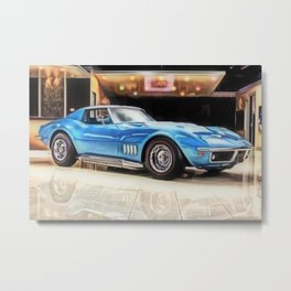 Vintage 1969 Ocean blue 427 Stingray Vette Big Block Metal Print