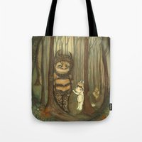 wild things Tote Bags featuring Wild Things  by thepoppytree