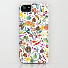 Colorful Whimsical Watercolor Fruits Veggies White Pattern iPhone Case