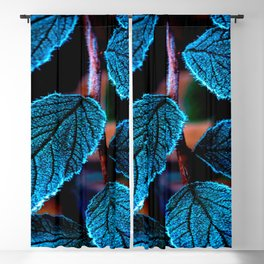 Peacock Blue Leaves Nature Background #decor #society6 #buyart Blackout Curtain