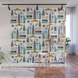 NYC travel pattern fun kids decor boys and girls nursery new york city theme Wall Mural