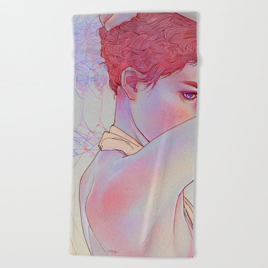 Untitled psychedelic girl drawing Beach Towel