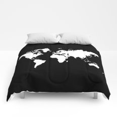 Black white world map Comforters