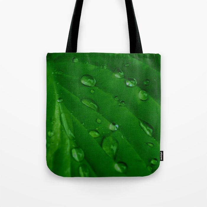 Green Leaf Macro Water Droplets Tote Bag