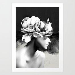 Floral Portrait-black and white Art Print