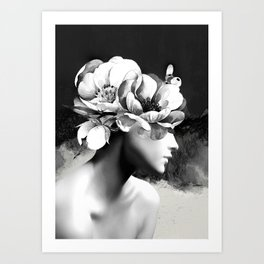 Floral Portrait-black and white Art Print