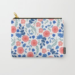 Floral Pattern White Backgrund Carry-All Pouch