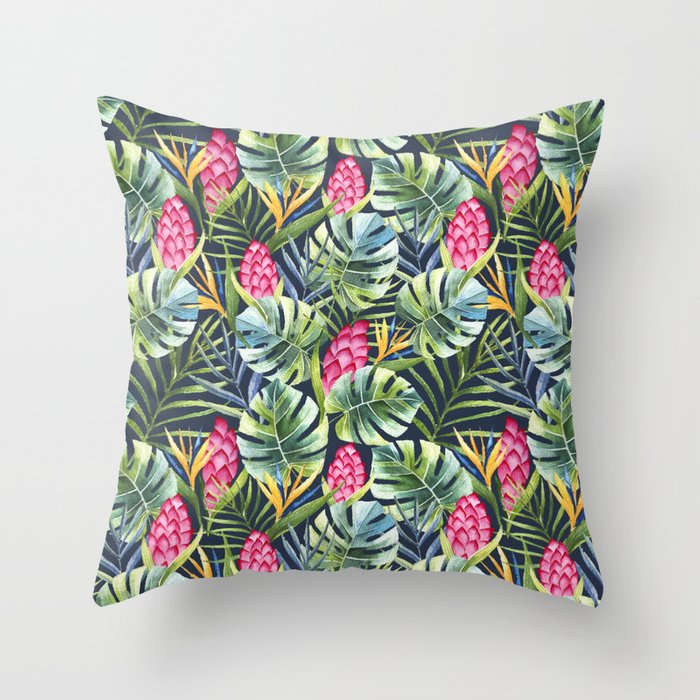 Tropical watercolor jungle pattern Throw Pillow