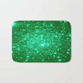 Emerald Green Glitter Stars Bath Mat