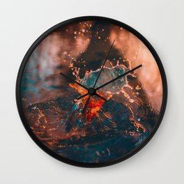 Sunset Splash Puddle (Color) Wall Clock