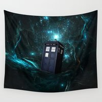 marauders Wall Tapestries featuring Flying Tardis on Space by Electra