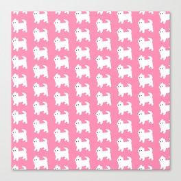 Westies Pink Pattern Canvas Print