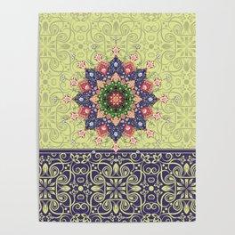 yellow mandala pattern Poster