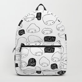 Girl Power Talking Heads Pattern - Black and White Backpack