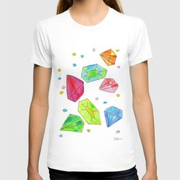 Let Us Shine Like Diamonds fashion, illustration, jewelry, gems, colorful, watercolor, painting T-shirt