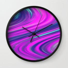 Neon Swirls Wall Clock