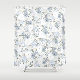 Light Blue Floral Pattern Shower Curtain