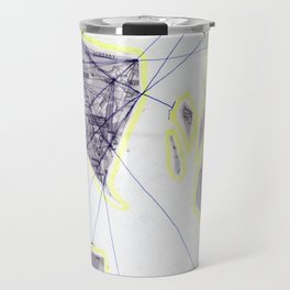 scan of yellow highlighter and blue ballpoint pen on black and white photocopy  Travel Mug