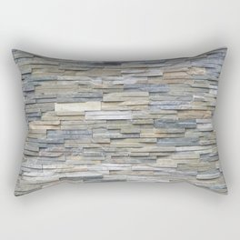 Gray Slate Stone Brick Texture Faux Wall Rectangular Pillow