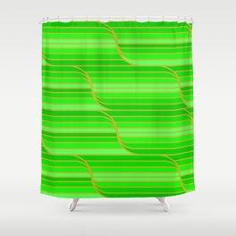 Geo Stripes - Green Shower Curtain