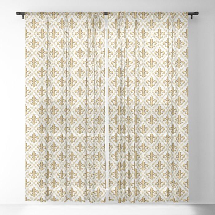 Gold Fleur De Lis Pattern Sheer Curtain By Debidalio