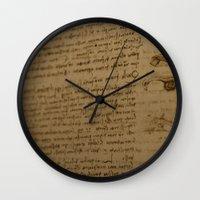 da vinci Wall Clocks featuring Da Vinci I by Megan Burgess