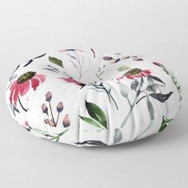 Coneflower Floral|Bold Watercolor Flowers|Renee Davis Floor Pillow