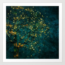 Abstract Night Tree Digital Art Art Print