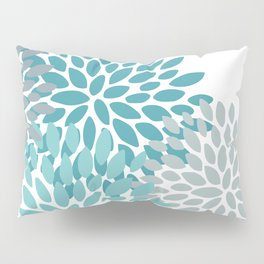 Floral Pattern, Aqua, Teal, Turquoise and Gray Pillow Sham