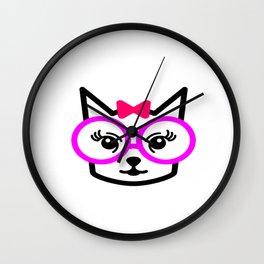 Cute Cat Girl Wearing Glasses Wall Clock