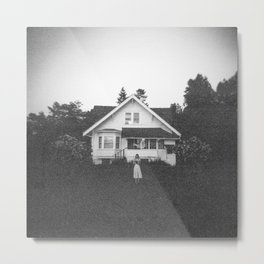 Ghostly Girl in the Garden - Holga Black and White Photograph Metal Print